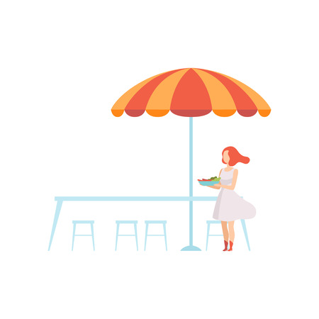 Outdoor Table with Umbrella, Street Cafe with Waitress or Visitor Vector Illustration on White Background.
