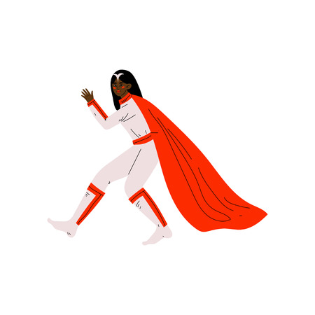 Young African American Woman in Superhero Costume and Red Cape, Super Girl Character Vector Illustration