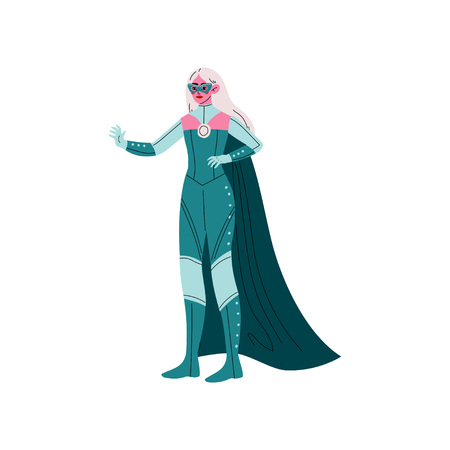 Blonde Young Woman in Superhero Costume and Mask, Beautiful Super Girl Character Vector Illustration