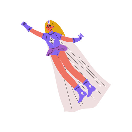Beautiful Girl in Bright Superhero Costume, Female Hero Character Flying Vector Illustration