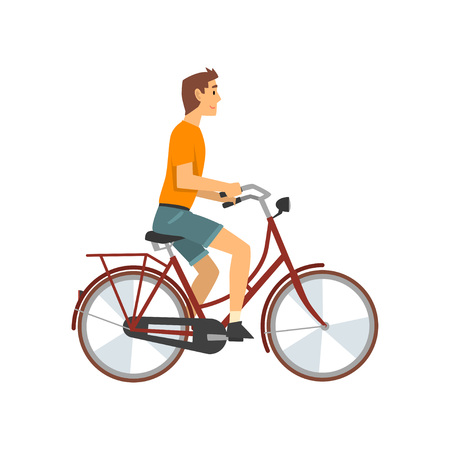Man Riding Bike, Cyclist Character on Bicycle Vector Illustration