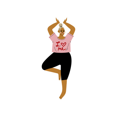 Plump Woman in Tree Pose, Curvy Girl Practicing Yoga, Healthy Lifestyle Vector Illustration on White Background.