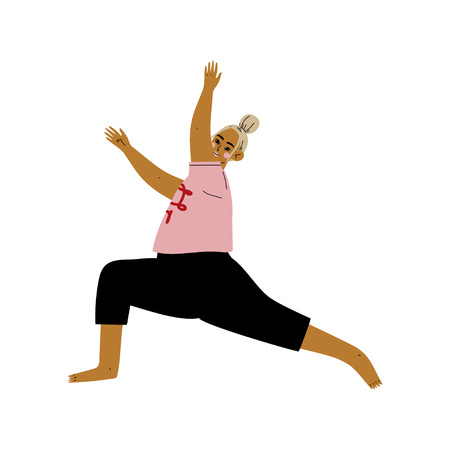 Plump Woman in Warrior I Pose, Curvy Girl Practicing Yoga, Healthy Lifestyle Vector Illustration