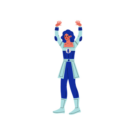 Young Woman in Blue Superhero Costume, Super Girl Character Standing with Arms Raised Vector Illustration