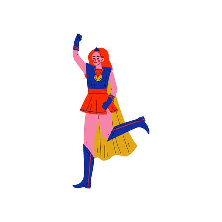 Girl in Bright Superhero Costume, Female Hero Character Vector Illustration