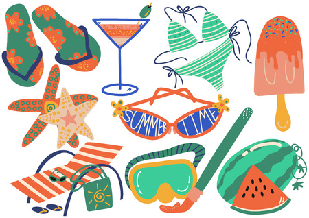 Summer Holiday Symbols Set, Flip Flops, Bikini, Cocktail, Sunglasses, Chaise Longue, Starfish Vector Illustration