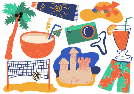 Summer Holiday Symbols Set, Cocktail, Shorts, Camera, Sunscreen, Sand Castle, Straw Hat, Beach Volleyball Vector Illustration on White Background. Illustration