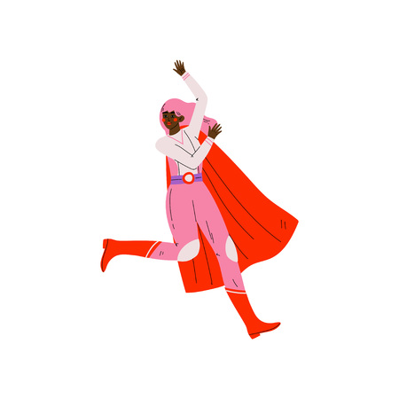 Young Woman in Pink Superhero Costume and Red Cape, Super Girl Character Vector Illustration