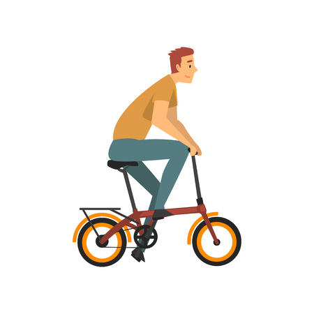 Male Cyclist Character, Young Man Riding Bike Vector Illustration on White Background.