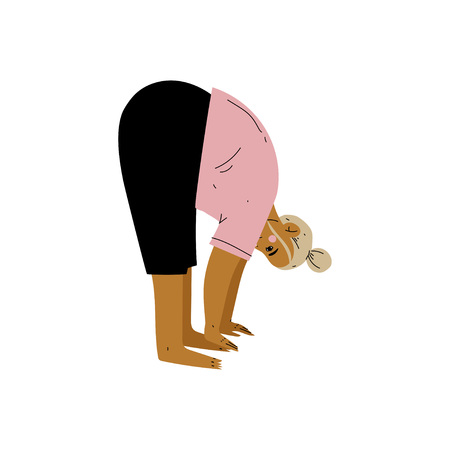 Plump Woman in Forward Bend Pose, Curvy Girl Practicing Yoga, Healthy Lifestyle Vector Illustration on White Background.