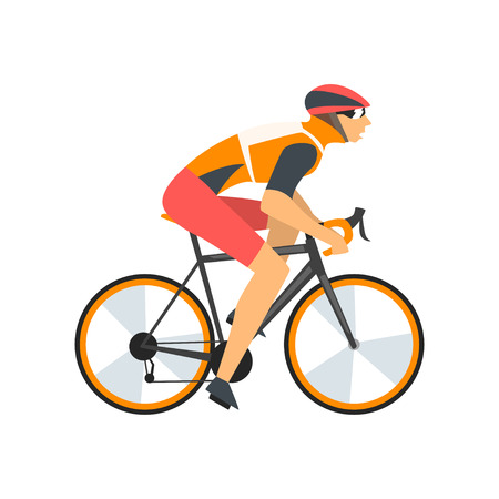Racing Cyclist Character, Male Athlete Riding Bike Vector Illustration Ilustração