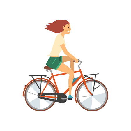 Young Woman Riding Bike, Female Cyclist Character on Bicycle Vector Illustration on White Background.
