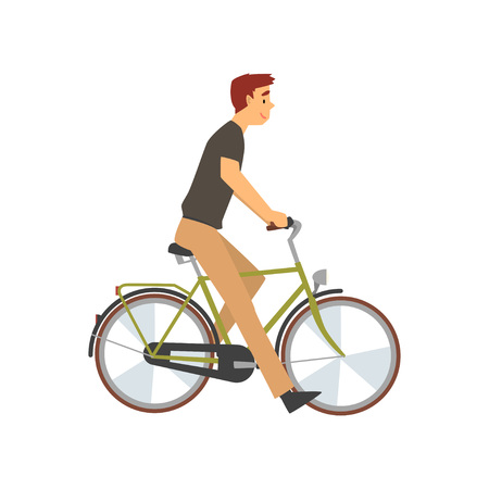 Young Man Riding Bike, Male Cyclist Character on Bicycle Vector Illustration