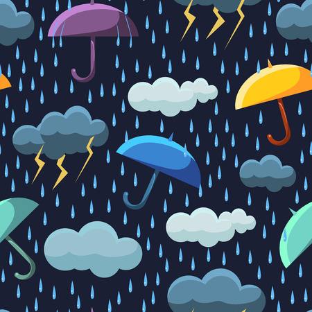 Cute Rainy Clouds and Umbrellas on Dark Blue Sky Seamless Pattern, Winter Design Element Can Be Used for Fabric, Wallpaper, Packaging Vector Illustration on White Background. Иллюстрация