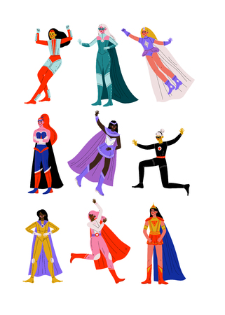 Beautiful Young Women in Bright Superhero Costumes with Capes Set, Super Girls Characters in Different Poses Vector Illustration