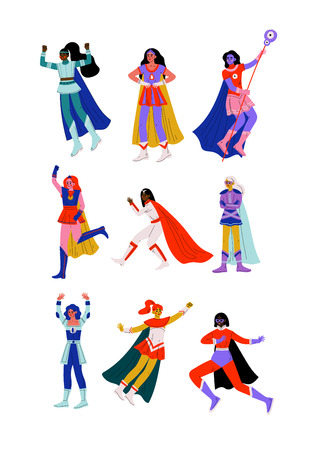 Young Women in Superhero Costumes and Capes Set, Beautiful Super Girls Characters in Different Poses Vector Illustration