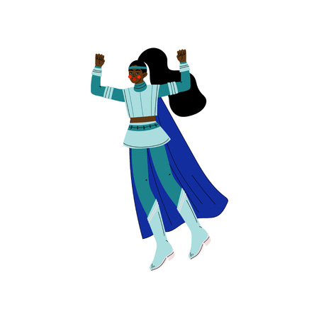 Young African American Woman in Blue Superhero Costume and Cape, Super Girl Character Vector Illustration