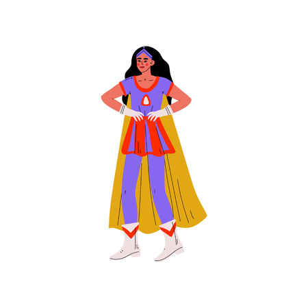 Young Brunette Woman in Bright Superhero Costume, Super Girl Character Standing with Hands on Her Waist Vector Illustration