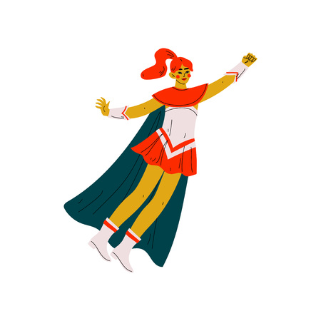 Young Woman in Superhero Costume, Super Girl Character Flying Vector Illustration