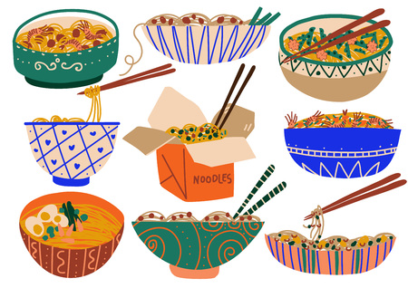 Noodles Set, Traditional Asian Food with Spices and Vegetables Vector Illustration on White Background.