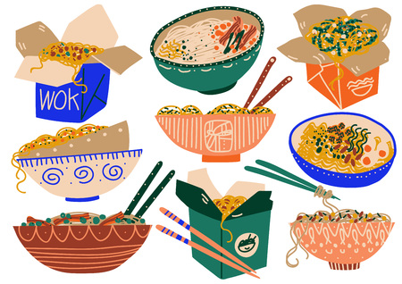 Noodles Set, Traditional Asian Food in Takeaway Boxes and Ceramic Bowls Vector Illustration on White Background.