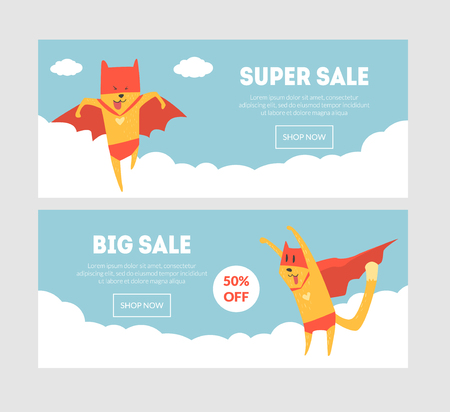 Super Sale Banners Set with Superhero Dog, Final Sale Template Can Be Used For Shop, Online Store, Website, Landing Page Vector Illustration