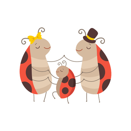 Ladybug Family, Cheerful Mother, Father Ladybugs and Their Baby Holding Hands, Cute Cartoon Insects Characters Vector Illustration Illustration