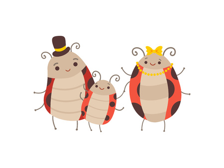 Happy Ladybug Family, Manly Ladybug, His Wife and Their Baby, Cute Cartoon Insects Characters Vector Illustration