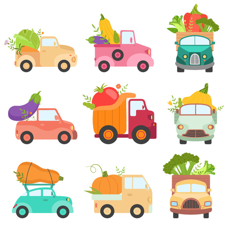 Cute Colorful Trucks Delivering Giant Fresh Vegetables, Shipping of Ripe Farm and Garden Agricultural Products Vector Illustration 向量圖像