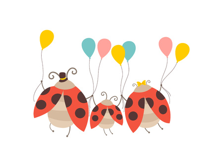 Familia de mariquita feliz, madre alegre, padre y su bebé con globos de colores, espalda, vista, personajes de dibujos animados lindo insectos ilustración vectorial