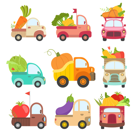Cute Trucks with Giant Fresh Vegetables, Colorful Lorries Delivering Ripe Farm and Garden Agricultural Products Vector Illustration