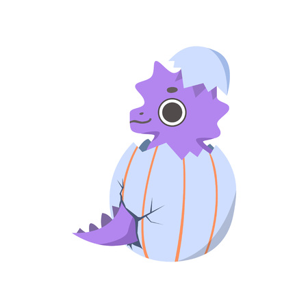 Cute Little Purple Dino Hatched from Egg, Adorable Baby Dinosaur Character Vector Illustration on White Background.