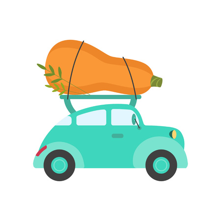 Cute Turquoise Car Delivery Giant Zucchini, Side View, Shipping of Fresh Garden Vegetables Vector Illustration Standard-Bild - 120923103