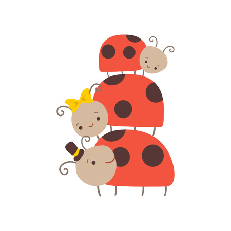Happy Ladybug Family, Father, Mother Ladybugs and Their Baby, Cute Cartoon Insects Characters Vector Illustration