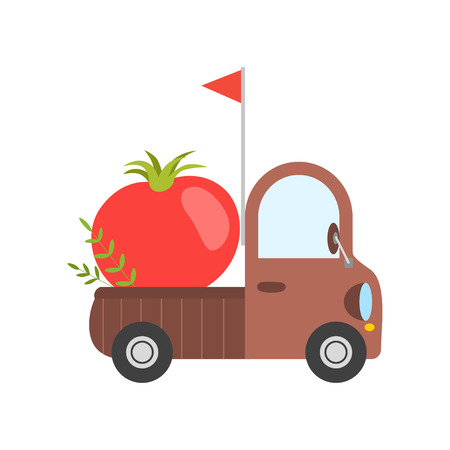 Cute Truck with Giant Ripe Tomato, Side View, Food Delivery, Shipping of Fresh Garden Vegetables Vector Illustration