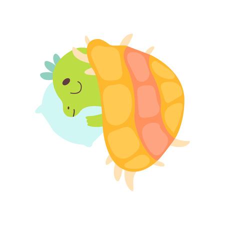 Cute Little Dino Sleeping on Pillow under Blanket, Adorable Baby Dinosaur Character Vector Illustration on White Background. Vettoriali