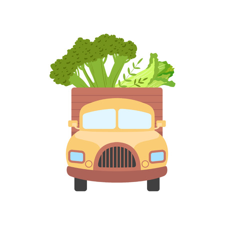 Cute Truck Delivering Fresh Giant Broccoli and Chinese Cabbage, Front View, Shipping of Garden Vegetables Vector Illustration