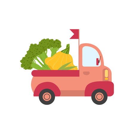 Cute Truck with Broccoli and Squash, Side View, Food Delivery, Shipping of Fresh Garden Vegetables Vector Illustration 向量圖像