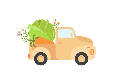 Cute Truck Delivering Fresh Cabbage, Side View, Shipping of Fresh Garden Vegetables Vector Illustration