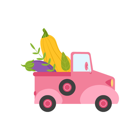 Cute Pink Truck with Giant Zucchini and Eggplant, Side View, Food Delivery, Shipping of Fresh Garden Vegetables Vector Illustration Ilustração