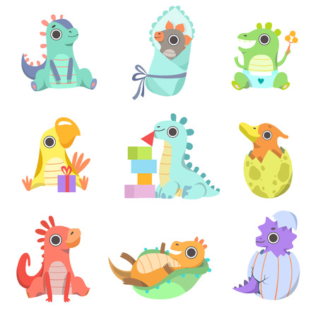 Cute Colorful Little Dinos Set, Adorable Baby Dinosaurs Characters Vector Illustration