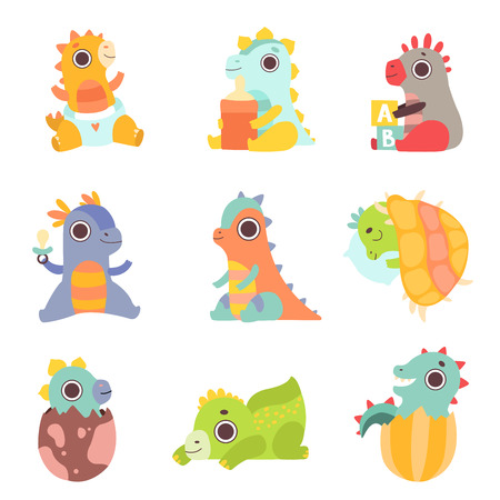 Cute Colorful Little Dinos Set, Adorable Newborn Dinosaurs Characters Vector Illustration Illustration