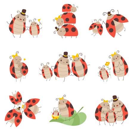 Cute Happy Ladybug Family Set, alegre madre, padre y sus bebés, adorables insectos de dibujos animados personajes ilustración vectorial