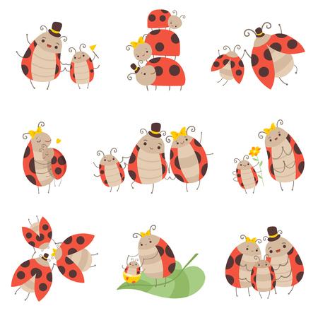 Netter glücklicher Marienkäfer-Familiensatz, fröhliche Mutter, Vater und ihre Babys, entzückende Karikatur-Insekten-Zeichen-Vektor-Illustration