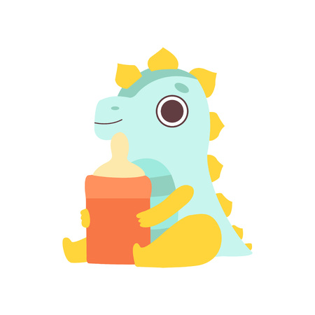Cute Little Dino with Milk Bottle, Adorable Baby Dinosaur Character Vector Illustration on White Background.