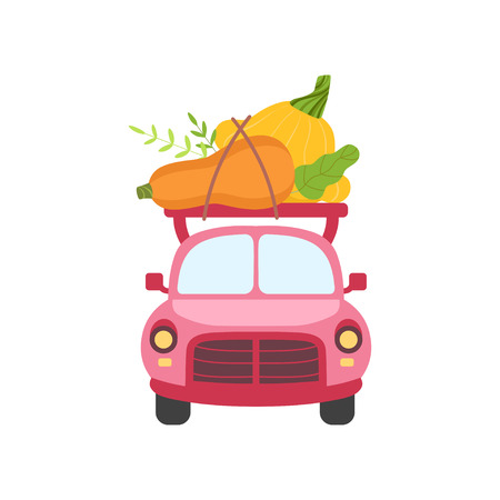 Cute Pink Car with Zucchini and Squash, Front View, Food Delivery, Shipping of Fresh Garden Vegetables Vector Illustration Banque d'images - 120923241