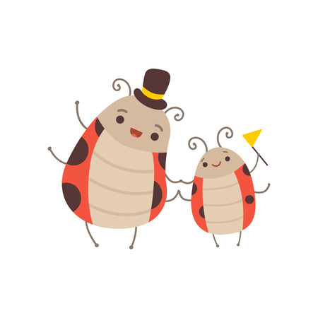 Happy Ladybug Family, Manly Father Ladybug with Top Hat on His Head and His Kid, Cute Cartoon Insects Characters Vector Illustration
