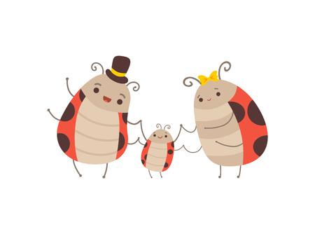 Linda familia de mariquita feliz, madre alegre, padre y su pequeño bebé, adorables insectos de dibujos animados personajes ilustración vectorial Ilustración de vector