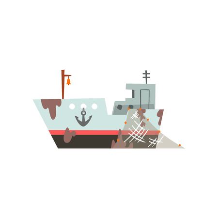 Fishing boat, trawler for industrial seafood production, retro marine ship vector Illustration isolated on a white background.