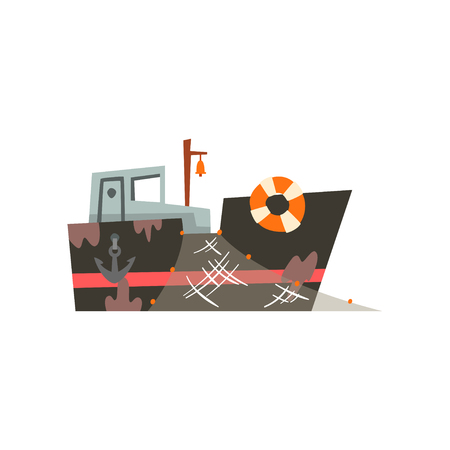 Fishing trawler for industrial seafood production, retro marine vessel vector Illustration isolated on a white background.